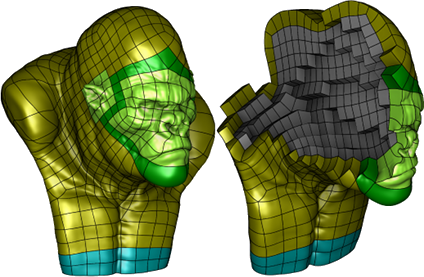 Fitting Polynomial Volumes to Surface Meshes with Voronoi Squared Distance Minimization