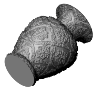 Simulated Bidirectional Texture Functions with Silhouette Details